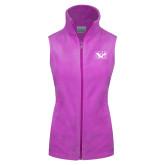 Columbia Ladies Full Zip Lilac Fleece Vest-Official Logo