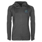 Ladies Sport Wick Stretch Full Zip Charcoal Jacket-CSU Coppin State Eagles