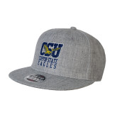 Heather Grey Wool Blend Flat Bill Snapback Hat-CSU Coppin State Eagles