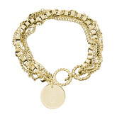 Olivia Sorelle Gold Round Pendant Multi strand Bracelet-Block C Engraved