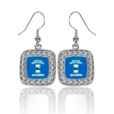 Crystal Studded Square Pendant Silver Dangle Earrings-Texas A&M Corpus Christi Islanders