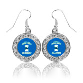 Crystal Studded Round Pendant Silver Dangle Earrings-Texas A&M Corpus Christi Islanders
