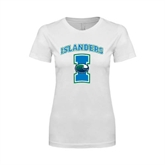 Next Level Ladies SoftStyle Junior Fitted White Tee-Islanders w/I