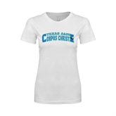 Next Level Ladies SoftStyle Junior Fitted White Tee-Arched Texas A&M Corpus Christi Design