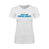 Next Level Ladies SoftStyle Junior Fitted White Tee-Texas A&M Corpus Christi