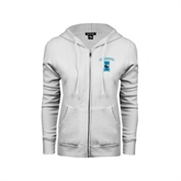 ENZA Ladies White Fleece Full Zip Hoodie-Islanders w/I