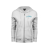 ENZA Ladies White Fleece Full Zip Hoodie-Arched Islanders