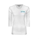 Ladies White 3/4 Sleeve Scoop Neck-Arched Texas A&M Corpus Christi Design