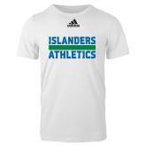 Adidas White Logo T Shirt-Adidas Islanders Athletics Logo