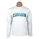 Performance White Longsleeve Shirt-Arched Texas A&M Corpus Christi Design