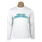 Performance White Longsleeve Shirt-Arched Texas A&M Corpus Christi