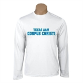 Performance White Longsleeve Shirt-Texas A&M Corpus Christi