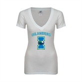 Next Level Ladies Junior Fit Deep V White Tee-Islanders w/I