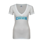 Next Level Ladies Junior Fit Deep V White Tee-Arched Texas A&M Corpus Christi Design