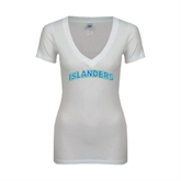 Next Level Ladies Junior Fit Deep V White Tee-Arched Islanders