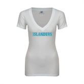 Next Level Ladies Junior Fit Deep V White Tee-Islanders