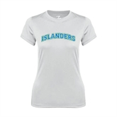 Ladies Syntrel Performance White Tee-Arched Islanders