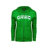 ENZA Ladies Kelly Green Fleece Full Zip Hoodie-Arched Texas A&M Corpus Christi Design
