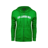 ENZA Ladies Kelly Green Fleece Full Zip Hoodie-Arched Islanders