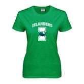 Ladies Kelly Green T Shirt-Islanders w/I