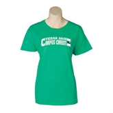 Ladies Kelly Green T Shirt-Arched Texas A&M Corpus Christi Design