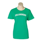 Ladies Kelly Green T Shirt-Arched Islanders