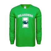 Kelly Green Long Sleeve T Shirt-Islanders w/I