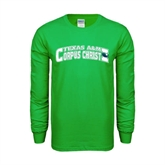 Kelly Green Long Sleeve T Shirt-Arched Texas A&M Corpus Christi Design