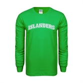 Kelly Green Long Sleeve T Shirt-Arched Islanders