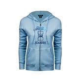 ENZA Ladies Light Blue Fleece Full Zip Hoodie-Texas A&M Corpus Christi Islanders Foil