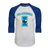 White/Royal Raglan Baseball T Shirt-Islanders w/I