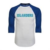 White/Royal Raglan Baseball T Shirt-Islanders