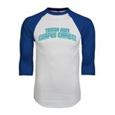 White/Royal Raglan Baseball T Shirt-Arched Texas A&M Corpus Christi