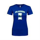 Next Level Ladies SoftStyle Junior Fitted Royal Tee-Islanders w/I