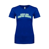 Next Level Ladies SoftStyle Junior Fitted Royal Tee-Arched Texas A&M Corpus Christi