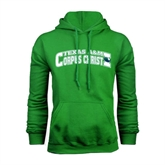 Kelly Green Fleece Hoodie-Arched Texas A&M Corpus Christi Design