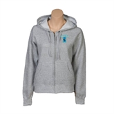 ENZA Ladies Grey Fleece Full Zip Hoodie-Islanders w/I