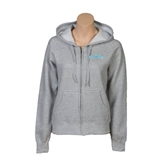 ENZA Ladies Grey Fleece Full Zip Hoodie-Arched Islanders