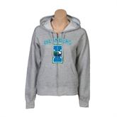 Ladies Grey Fleece Full Zip Hoodie-Islanders w/I