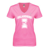 Next Level Ladies Junior Fit Deep V Pink Tee-Kay Yow Breast Cancer Fund Ribbon