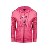 ENZA Ladies Fuchsia Fleece Full Zip Hoodie-Texas A&M Corpus Christi Islanders Foil