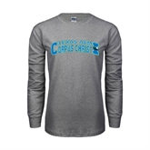 Grey Long Sleeve TShirt-Arched Texas A&M Corpus Christi Design
