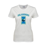 Ladies White T Shirt-Islanders w/I