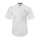 White Twill Button Down Short Sleeve-Arched Islanders