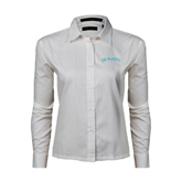 Ladies White Twill Button Down Long Sleeve-Arched Islanders