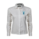 Ladies White Twill Button Down Long Sleeve-Islanders w/I