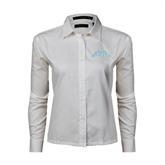 Ladies White Twill Button Down Long Sleeve-Arched Texas A&M Corpus Christi