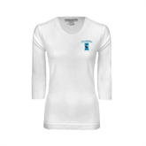 Ladies White 3/4 Sleeve Scoop Neck-Islanders w/I
