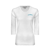 Ladies White 3/4 Sleeve Scoop Neck-Arched Islanders