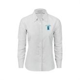 Ladies White Oxford Shirt-Islanders w/I